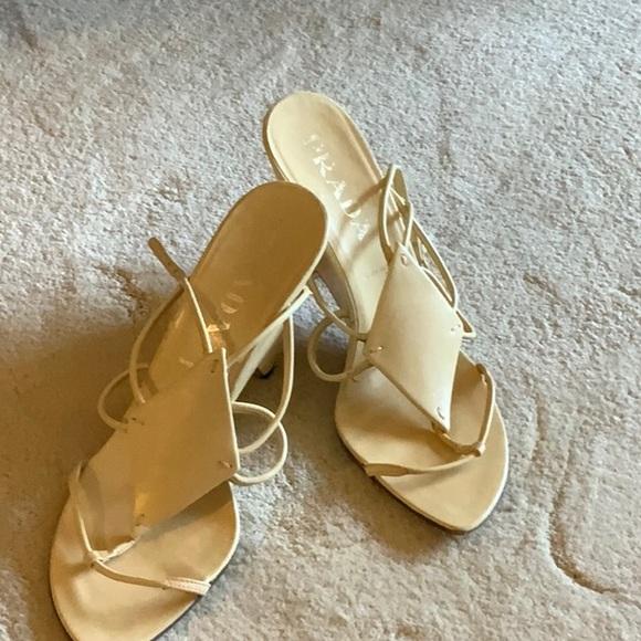 Prada strapped high heeled wedge sandals